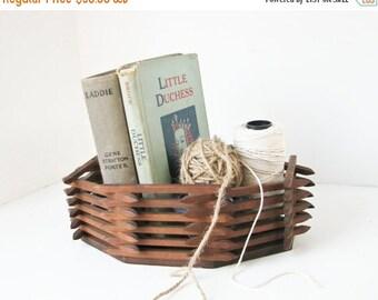ON SALE Wood Basket Box, Handmade Planter, Storage, Rustic, Folk Art