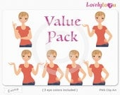 Character value pack, woman avatar digital PNG clipart (Emma VP13)