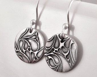 Paisley Earrings,Fine Silver Earrings, Disc Earrings, , Petite Earrings, Rustic Jewelry Gifts for Her