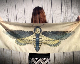 Death's Head Moth Wings Scarf, Handmade Shawl, Faux Silk Crepe de Chine Ready to Ship