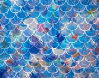 1/2 Yard Multi Color Fish Scale Swimsuit Fabric, Stretchy Knit Polyester Lycra Blend for Swimwear