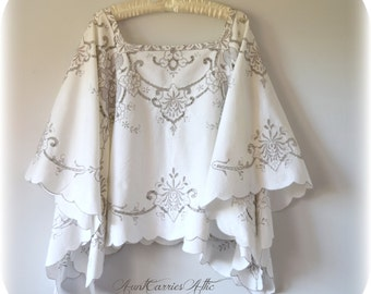Embroidered Poncho Shawl Large to Extra Large Plus Size Wedding Shawl Caftan made from Vintage