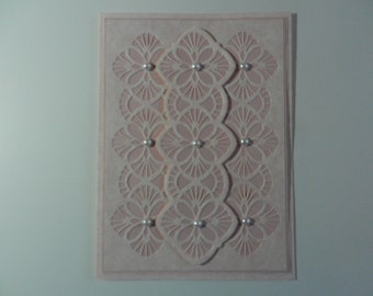 Handmade Greeting card Get well soon in pink with pearls