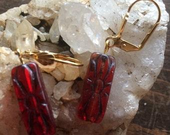 Vintage glass earrings red dangles