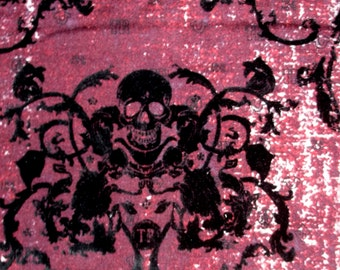 Awesome! Black Felt Skull Damask 2W Stretch Red Burgundy Maroon Twill Fabric BTY, in 3 colors