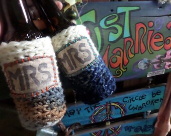 Mrs and Mrs, Beer wrap, Bride and Bride, Lesbian wedding, cozy, Gay Wedding, Boho Hippie, Gay Pride, C62, same sex, two brides, lesbian gift