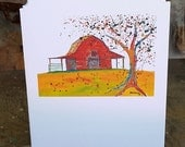 Weathered Red Barn Notecard, blank inside