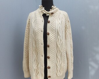 Vintage 1950s/60s All Wool CABLEKNIT Cardigan / Made in Ireland for Macy Associates