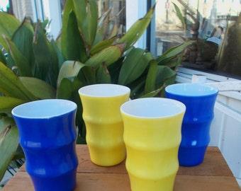 Vintage Yellow And Blue Anchor Hocking Juice Glasses Retro Kitchen Decor Barware