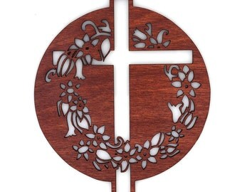 Wooden Cross & Wreath Ornament