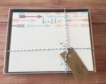 Hello + arrows stationery set of 20 flat cards