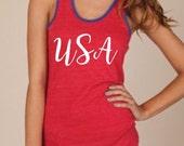 USA Tank Top //Tank Top // American Flag Clothing Ready To Ship