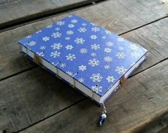 Blue Snowflake Journal, Blank Handmade Winter Book, Coptic Stitch Sketchbook, Winter Blue Snowflake Diary, Christmas Memory Notebook