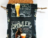 Groomsmen Gifts - Beer Theme Gifts - Gift Bag - Fabric Bags - Bags for Mens Gifts - Drawstring Bag -  Host Gift Bag - Set of 10 Bags