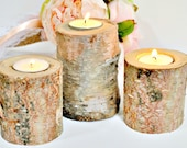 Birch Candles - Birch Candle - Rustic Wedding Candle - Candle Holder -  Wood Candle Holder - Wedding Candle Holders - Peachy Birch Wood