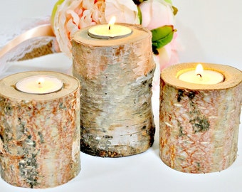 Birch Candles - Birch Candle - Rustic Wedding Candle - Candle Holder -  Wood Candle Holder - Wedding Candle Holders - Peachy Birch Wood
