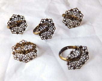 Brass Floral Filigree Adjustable Ring Blank - Adult Size -  Set of 5 - Suitable for cabochons, cameos, DIY