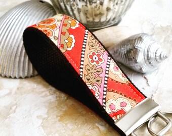 Fabric Wrist Key Chain / Key Fob / Fabric Keychain / Pretty Paisley and Polka Dots