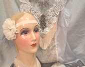 MidWinter Sale 20% Off FLAPPERand HEADBAND 1920s Gatsby Downton Abbey Roaring 20s - Vintage Slip Make Over - Gray and Ivory