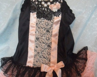 MidWinter Sale 20% Off TUNIC Top Whimsical Fairylike Boho Cami Romantic Glam Girl - Tunic - Black and Peach