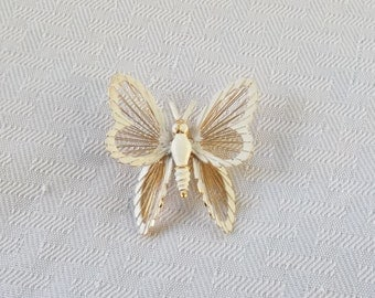 1970s Vintage Monet White Enamel and Gold Tone Butterfly Brooch Spinerette