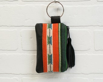 recycled black leather keychain, navajo print, wallet, coin purse, key ring, key pouch, tassel, card holder, handmade, upcycled, stacylynnc