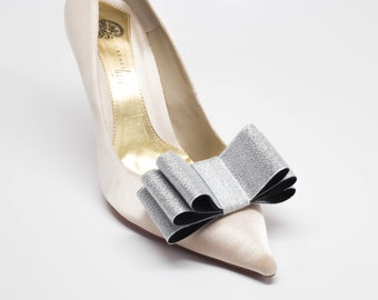 Silver Ribbon Bow Shoe Clips Set Of Two, More Colors Available
