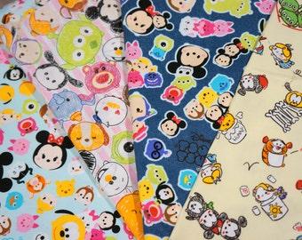 Disney Licensed Disney Tsum Tsum fabric scrap fat quarter  each piece Printed in Japan ©Disney ©Disney/Pixar