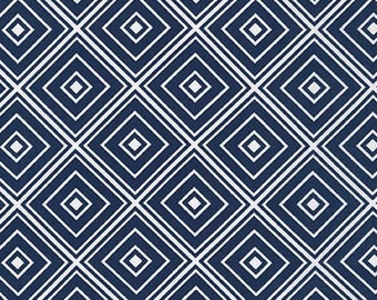 Fat Quarter - Metro Living Diamond Robert Kaufman Fabrics SRK-15082-9 Navy