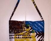 Vintage Barkcloth purse Bakelite button Tiki Modern Abstract pattern Blue Yellow Brown Ginas Creations Original
