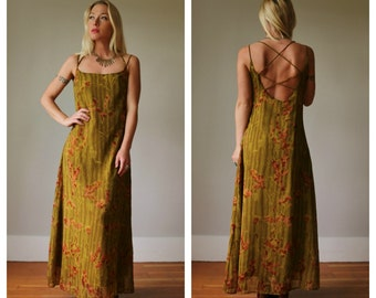 1980s Olive Indian Dress >>> Extra Small to Small