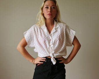 1970s Summer Heart Blouse >>> Extra Large (14/16)