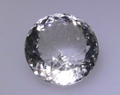 20mm round white or clear Quartz faceted gemstone, 28.10 carats