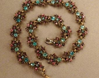 CZECH vintage stunning  Necklace silvertone RHINESTONES blue pink orange  app 15 in