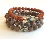 natural stone mala stack bracelets with hamsa rudruksha beads and jasper gemstones yoga jewelry