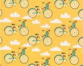 Clearance FABRIC FANCY FREE Bikes on Yellow by Riley Blake 1/2 yard