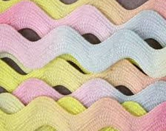 Clearance RICK RACK JUMBO Rainbow Pastel graduated trim 2.5 yards Colorfast