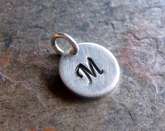 Sterling Silver Initial Pendant - Single Sterling Silver Initial Charm - 1 Pendant - Chain Available Separately