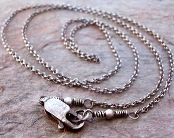 Sterling Silver Chain with Sterling Silver Clasp - Delicate Style Sterling Silver Cable Chain