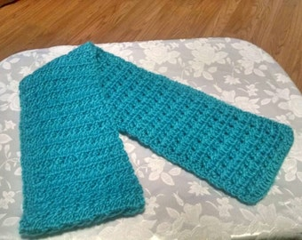 Hand crocheted scarves both teal two different sizes  and patterns your choice. Nice and soft.