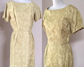 Vintage Gold Cocktail dress. 50's pin up dress. Wiggle dress. Marylin Monroe