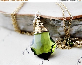ON SALE Crystal Necklace, Crystal Pendant, Swarovski Crystal, Wire Wrapped, Pendant Necklace, Green Crystal, Gold Necklace, Baroque Jewelry,