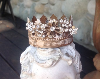 Dainty simple handmade rusty and rhinestone santos crown