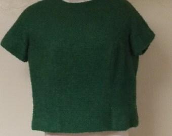 Vintage green woven wool nubby texture suit top back metal zipper S/M