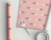 Hello Baby Elephant Gift Wrap Pink
