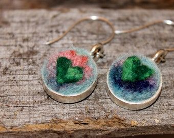 Felted Heart Earrings, Heartscapes Pendant Earring, Needle Felted Heart  Earrings, Silver Heart Earring #1689