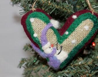 Snowman Heart Ornament Needle Felted Prim Snowman Heart Felted on Burlap #1083