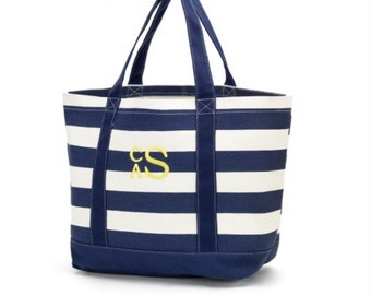 Large Preppy Navy Stripe Tote Bag, personalized totes - canvas - pink