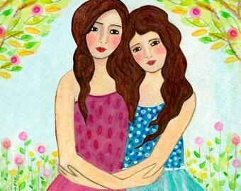 Sisters Art Print  - Best Friends - Two Brunette Sisters Brown Hair Sisters Best friends - Best Friend Sister Gift