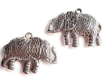 Pair of Antiqued Nickel Color Charm / Pendant, Finding Supply, Acrylic Charming Elephant, LEAD FREE